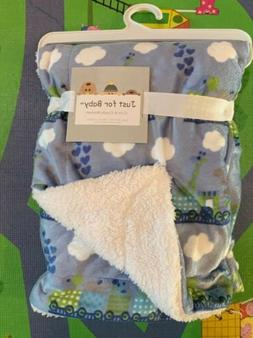 Just for Baby,Cute & Cuddle Boys Plush  Blanket Blue/White/G
