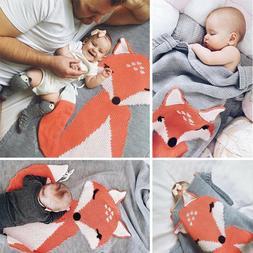Cute Fox Kids Baby Napping Blanket Knit Crochet Bedding Towe