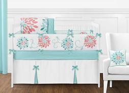 Cute Modern Floral Baby Bedding Turquoise and Coral Girl Cri