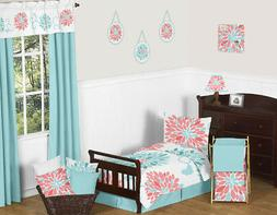 Cute Modern Turquoise Blue and Coral Floral Toddler Size Bed