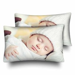 InterestPrint Cute Newborn Baby Curled up Sleeping on a Blan