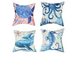 Cute Sea Theme Throw Pillow Covers Set of 4 Octopus Seahorse