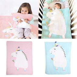 Cute Unicorn Kids Baby Napping Blanket Quilt Bedding Towel C