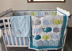 Cute Whale Baby Crib Nursery Bedding Set Quilt Skirt Sheet B