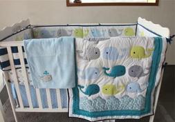 Cute Whale Baby Crib Nursery Bedding Set Quilt Skirt Sheet B