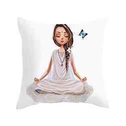 GREFER Cute Yoga Meditation Pillowcase Decoration Car Sofa C