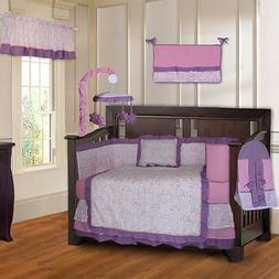 BabyFad Damask Girls Pink and Purple 10 Piece Baby Crib Bedd