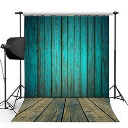 Kooer 5x7ft Dark Cyan Wood Floor Photography Backdrops Woode
