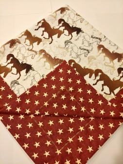 Dark Red, Ivory Horse Flannel Double sided Baby blanket, swa