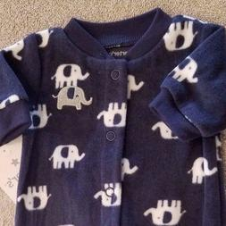 DARLING! NEW CARTER'S PREEMIE FLEECE DARK BLUE ELEPHANT FOOT