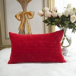 HOME BRILLIANT Decor Decorative Striped Corduroy Solid Cushi