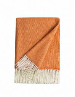 BOURINA Decorative Herringbone Faux Cashmere Fringe Throw Bl