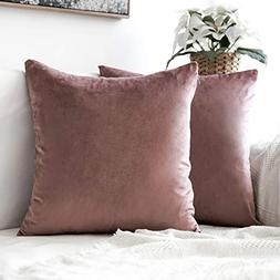 MIULEE Pack of 2 Decorative Velvet Pillow Covers Soft Square