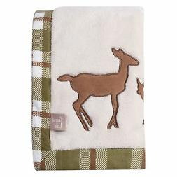 Trend Lab Deer Lodge Framed Coral Fleece Baby Blanket, Cream