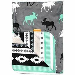 Deluxe Baby Blankets, Custom Minky Print Black, Grey, Mint M