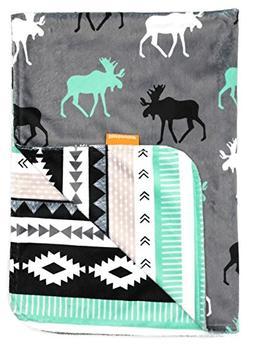 Dear Baby Gear Deluxe Baby Blankets, Custom Minky Print Blac