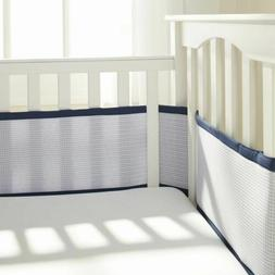 BreathableBaby |Deluxe Breathable Mesh Crib Liner | Navy