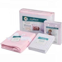 BreathableBaby Deluxe Cable Weave 4 Piece Bedding Set, Pink