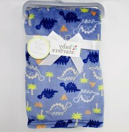 BABY STARTERS DINO PRINT BLUE/ROYAL BLUE/TAN BABY BLANKET 30