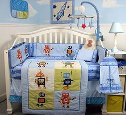 SoHo Stars and Robots Complete Nursery Bedding 14 piece Set