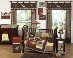 Dinosaur Dino 9pc Baby Crib Bedding Set for Newborn Boy Room