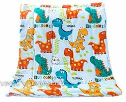 Elegant Home Multicolor Dinosaurs Kids Soft & Warm Sherpa Ba