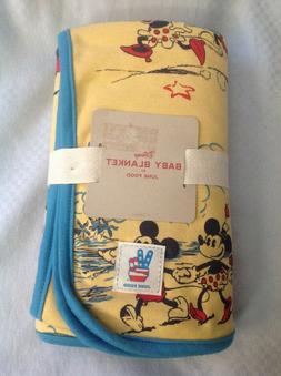 Disney Baby Blanket by Junk Food NWT Blue & Yellow Mickey Mi