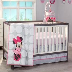 Disney Minnie Mouse Polka Dots 4 Piece Nursery Crib Bedding
