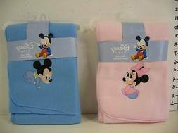 Disney BLUE MICKEY Mouse or PINK MINNIE Baby Fleece Blanket