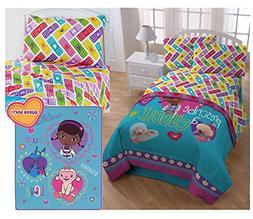 Disney Doc McStuffins Kids Twin Bedding 5 Piece Set - Revers