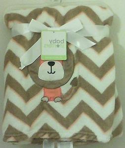 Baby Starters Dog Embroidred on Brown/Orange/Ivory Chevron B