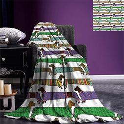 smallbeefly Dog Lover Lightweight Blanket Cartoon Style Dach