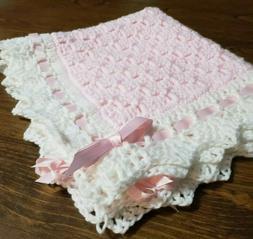 DOLL Baby blanket 19 x19 Crochet pink and white arcylic yarn