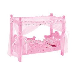 Doll Bed with Canopy Blanket & Pillows Fits 25cm Mellchan Ba