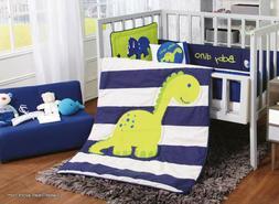 Dinosaur Blue Crib Bedding Set Sheet 6PC Comforter Baby Show