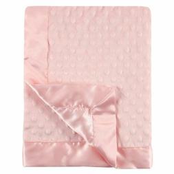 Hudson Baby Dotted Mink Blanket with Satin Binding, Light Pi