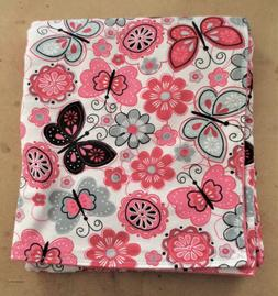 Handmade Double Flannel Baby/Toddler Blanket Butterfly Flowe
