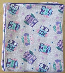Handmade Double Flannel Baby/Toddler Blanket Purple Owls Bla