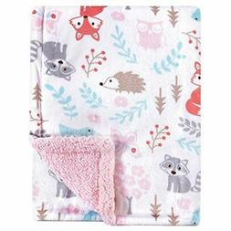 Hudson Baby Double Layer Blanket, Girl Woodland, One Size