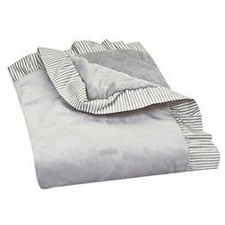 Trend Lab Dove Gray Receiving Blanket - Ruffle Stripe Trim