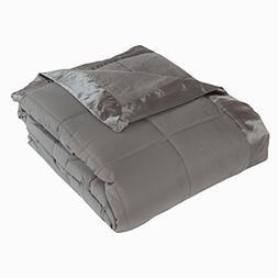 Cozy Fleece Down Alternative Blanket with Satin Trim