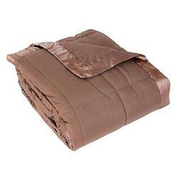 Cozy Fleece Down Alternative Blanket with Satin Trim, Twin,