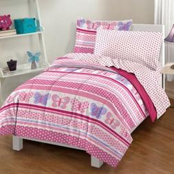 💗 Dream Factory Butterfly Dots Bedding Comforter & Sheet
