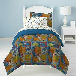 Dream Factory Dino Blocks Bed in a Bag Bedding Set, Full Siz