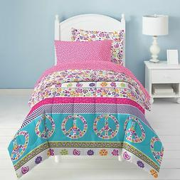 Dream Factory Peace and Love Bed in a Bag Bedding Set, Full