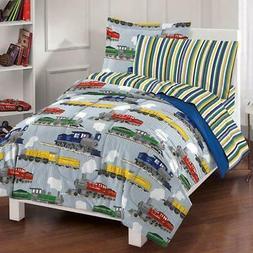 Dream Factory Trains Mini Bed in a Bag Bedding Set, Blue, Fu