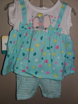 Dumbo Baby Girl Jumper & Short Set NWT Disney 0/3 MONTHS