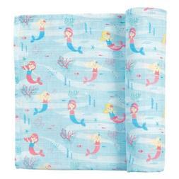 Mud Pie E1 Baby Shower Nursery Mermaid Muslin Swaddle Blanke