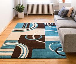 Echo Shapes & Circles Blue & Brown Modern Geometric Comfy Ca