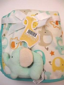 FIRST MOMENTS Elephant Baby Blanket & Rattle Gift Set 30 X 3